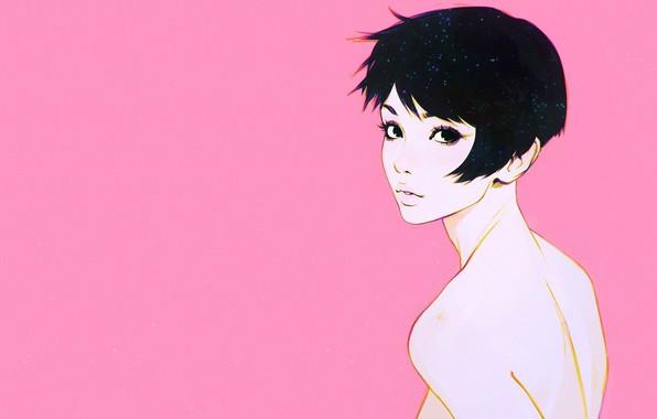 Картинка стрижка, розовый фон, челка, портрет девушки, в полоборота, Илья Кувшинов, шея плечи