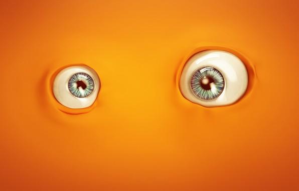 Картинка minimalism, eyes, orange, artist, digital art, artwork, Lacza