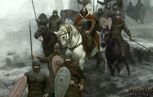 Картинка sword, armor, weapon, man, army, ken, Mount & Blade, blade, horse, shield, warrior, king, helmet, …