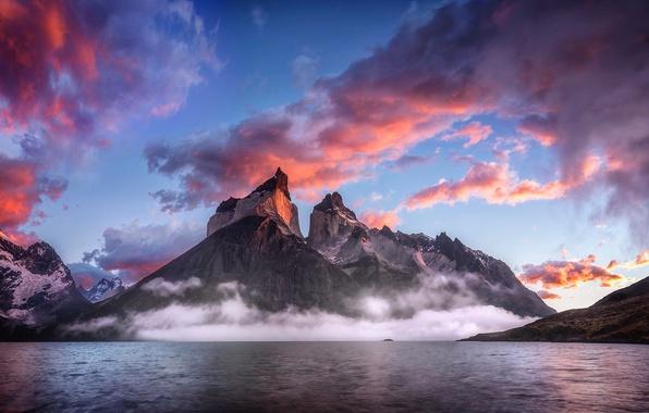 Картинка небо, облака, горы, туман, озеро, Патагония