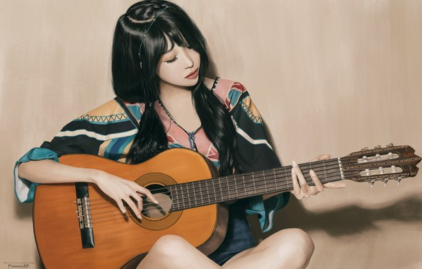 Картинка Девушка, Рисунок, Взгляд, Гитара, Азиатка, Girl, Брюнетка, Brunette, Asian, Сидит, Guitar, Beauty, Красивая, Woman, Look, …