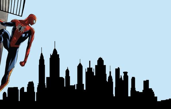 Картинка Небо, Нью-Йорк, Город, Костюм, Здания, City, Герой, Маска, Комикс, Статуя Свободы, Sky, Супергерой, Hero, New …
