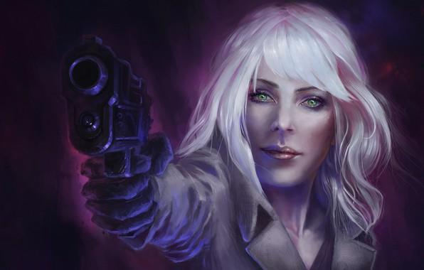 Картинка взгляд, девушка, пистолет, Charlize Theron, блондинка, art, Lorraine Broughton, Atomic Blonde