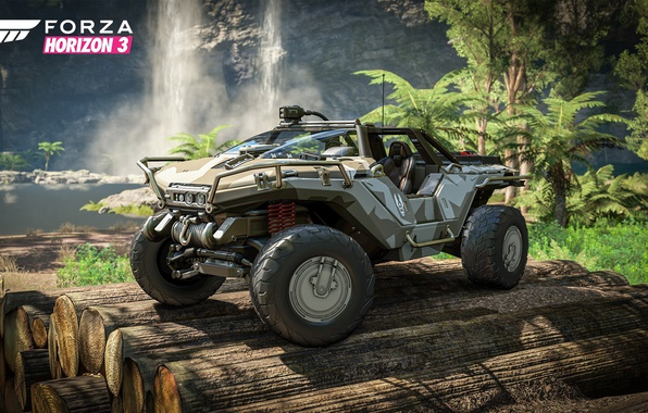 Картинка car, Halo, game, river, trees, jungle, race, speed, waterfall, crossover, Forza Horizon, vehicle, vegetation, trunks, ...