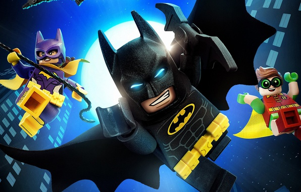 Картинка city, cinema, Batman, movie, bat, Lego, Robin, hero, film, animated film, DC Comics, Bruce Wayne, …