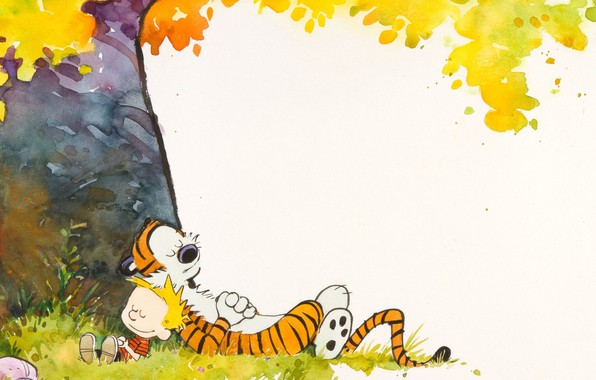 Картинка тигр, дерево, мальчик, Комикс, спят, лежат, Calvin and Hobbes, Кельвин и Хоббс, Хоббс, Кальвина, плюшевый …