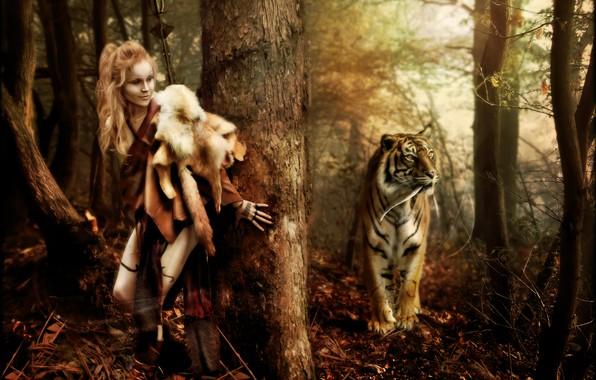 Картинка лес, тигр, женщина, Digital Art, brandrificus, lets play hide and seek