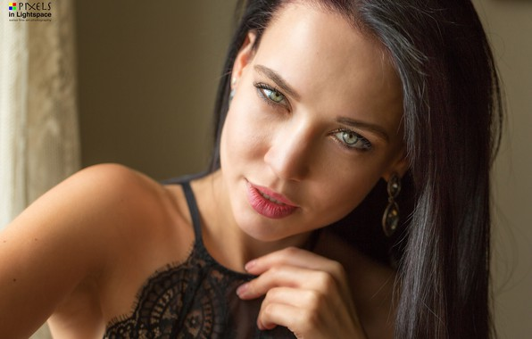 Картинка взгляд, секси, модель, портрет, макияж, брюнетка, прическа, красотка, боке, Angelina Petrova, Ангелина Петрова, Mladen Dakic