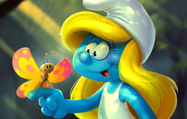 Картинка бабочка, арт, детская, Smurfette, Katya Art
