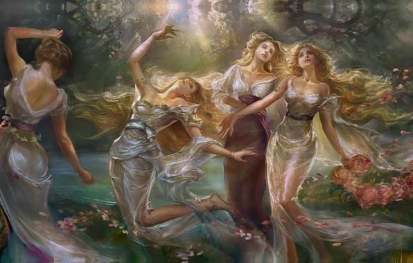 Картинка девушки, танец, арт, fantasy, rongrong wang, Sisters