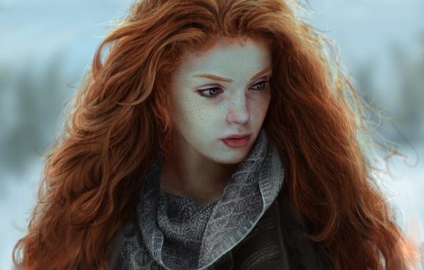 Картинка Девушки, Рисунок, Взгляд, Волосы, Рыжая