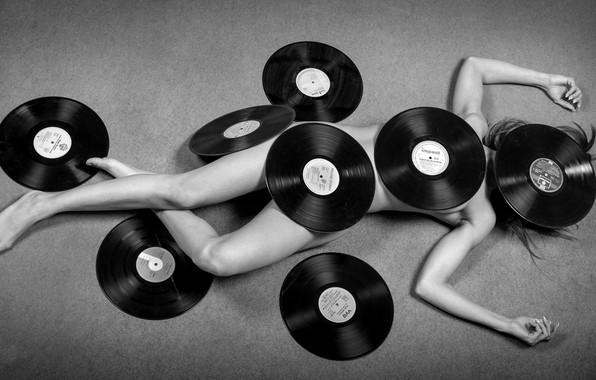 Картинка девушка, музыка, винил, пластинки