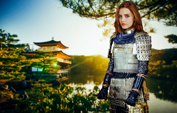 Фото обои light, girl, summer, fantasy, forest, fashion, river, armor, trees, nature, young, model, sun, pretty, mood, ...