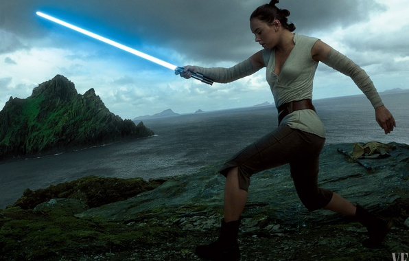 Картинка cinema, Star Wars, red, black, woman, stars, movie, film, jedi, Rey, Daisy Ridley, light saber, …