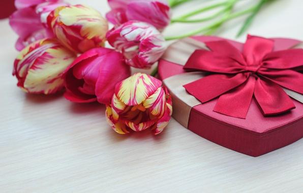 Картинка букет, тюльпаны, love, бант, fresh, flowers, romantic, tulips, gift