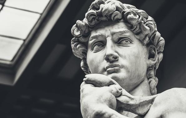 Картинка Статуя, Италия, Флоренция, Ренессанс, Микеланджело, Давид, Renaissance, Возрождения, скульптура Микеланджело, мраморная статуя
