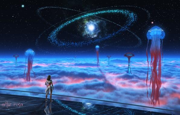 Картинка девушка, космос, звезды, облака, фантазия, фантастика, человек, башня, медуза, арт