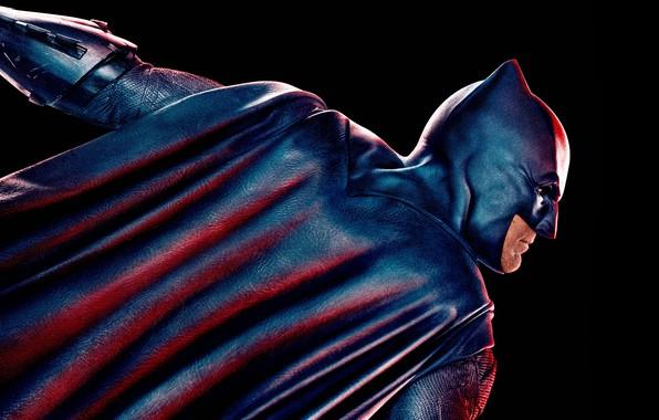 Картинка фантастика, маска, костюм, Бэтмен, черный фон, постер, Batman, Бен Аффлек, комикс, DC Comics, Bruce Wayne, …