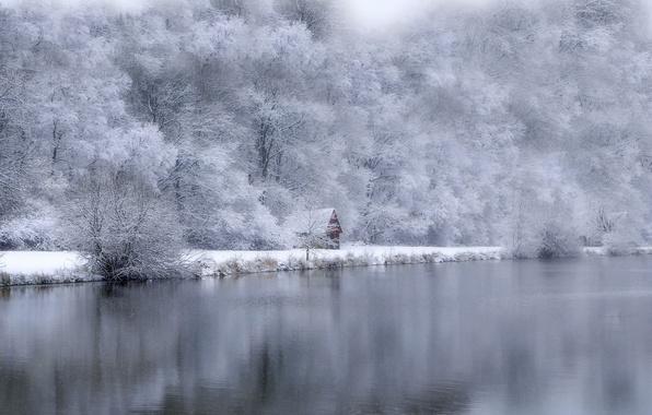 Картинка зима, озеро, дом