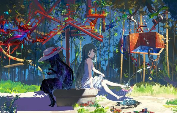Картинка вода, свет, тень, аниме, арт, девочка, mianbaoshi mengxiang