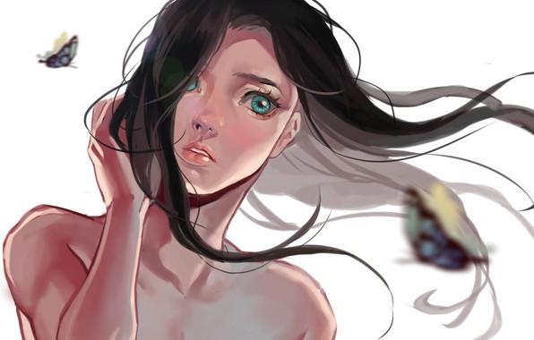 Картинка лицо, ветер, рука, белый фон, голубые глаза, плечи, длинные волосы, art, портрет девушки, бабачки, Hiruna454