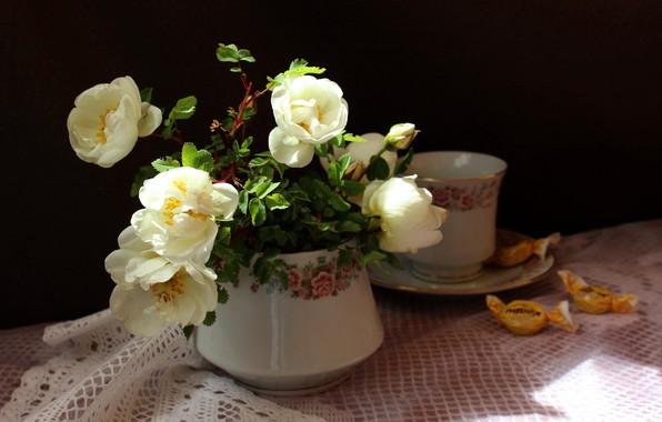 Картинка ветки, шиповник, конфеты, чашка, цветки, салфетка, вазочка