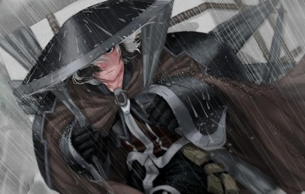 Картинка character, rain, hat, anime, digital art, artwork, Samurai, manga, cape, anime girl