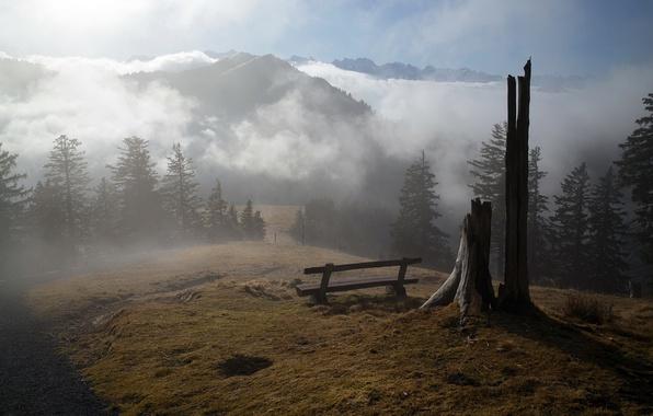 Картинка горы, туман, утро, скамья