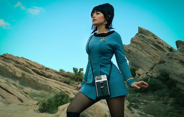Картинка girl, rock, Star Trek, dress, woman, cosplay, brunette, oppai, uniform, seifuku, TV series, Uhura, lofo
