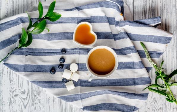 Картинка ягоды, кофе, завтрак, черника, мед, coffee cup, какао, breakfast, зефир, marshmallow