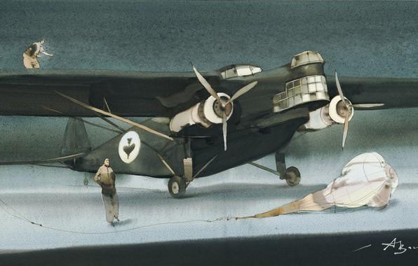 Картинка парашют, лётчики, Летающий Крокодил., Аруш Воцмуш, Ex-Print