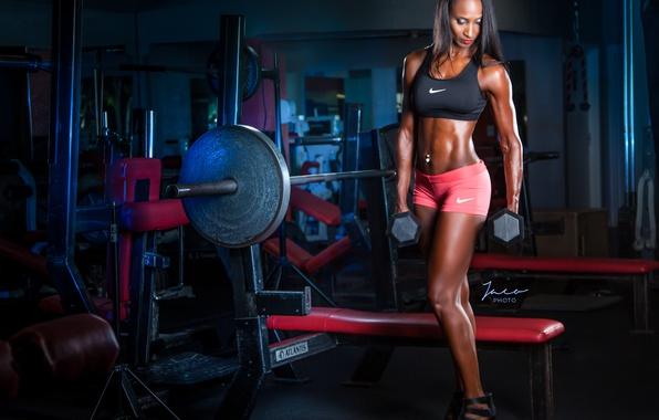 Картинка brunette, pose, female, fitness, abs