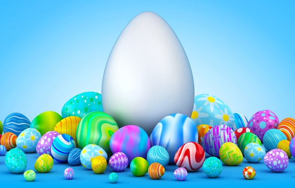 Картинка фон, праздник, яйца, пасха, маленькие, большие, разноцветные, куча, много, 3d графика
