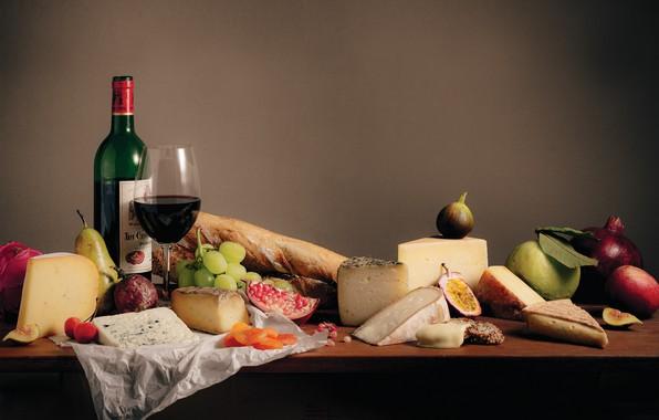 Картинка вино, бокал, сыр, виноград, груша, гранат, инжир, курага