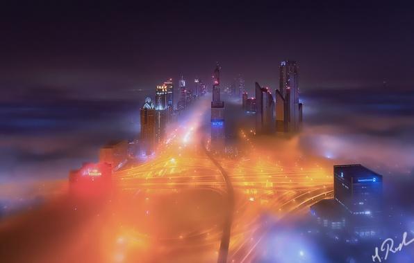 Картинка ночь, город, огни, туман, Дубай, ОАЭ