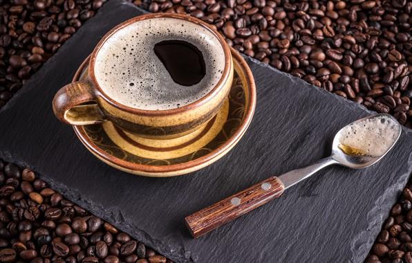 Картинка кофе, зерна, чашка, hot, cup, beans, coffee