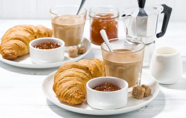Картинка кофе, завтрак, джем, круассаны