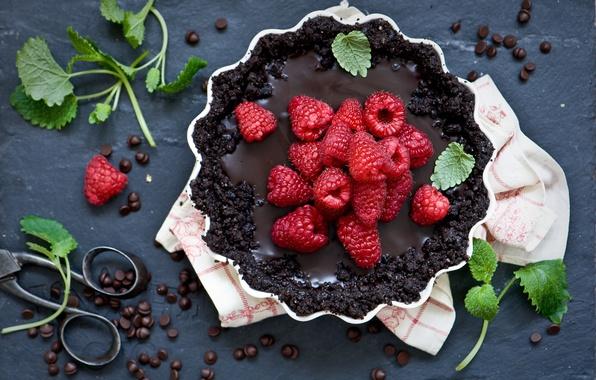 Картинка малина, еда, шоколад, пирог, сладкое