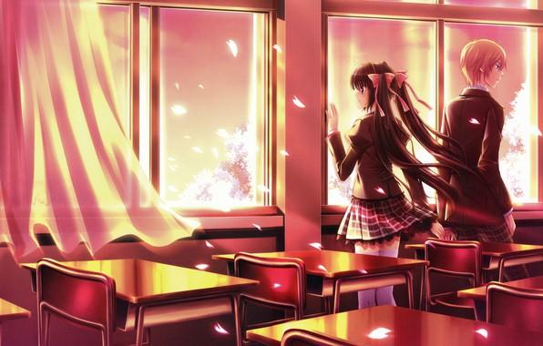 Картинка романтика, стулья, весна, класс, двое, школьная форма, занавеска, art, парты, у окна, лепестки сакуры, парень …
