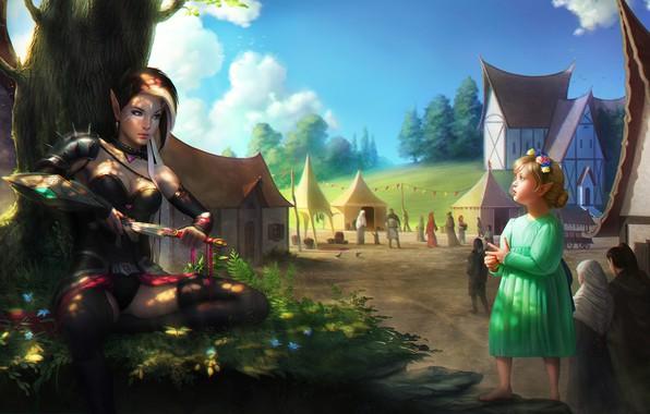 Картинка город, дерево, улица, эльф, девочка, кинжал, Adalia