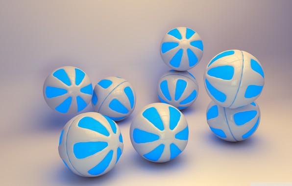 Фото обои голубые, шары, фон
