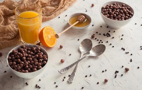 Картинка шарики, завтрак, сок, мед, ложки