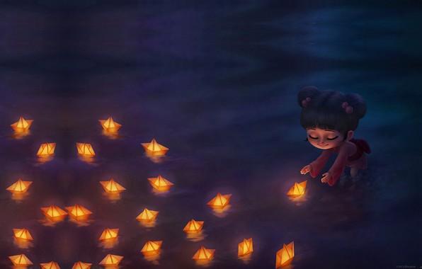 Картинка праздник, огоньки, арт, девочка, детская, лодочка, Ellie Horie, Shipping Hope