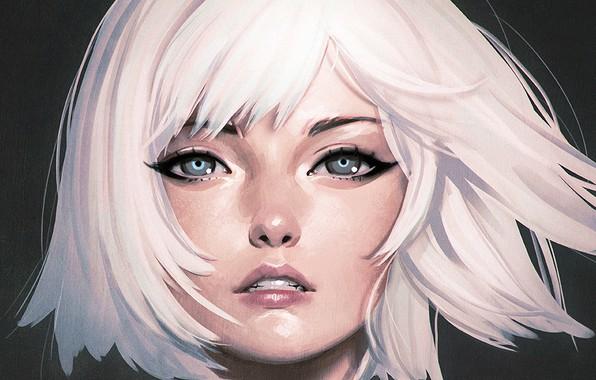 Картинка лицо, стрижка, голубые глаза, белые волосы, челка, портрет девушки, Илья Кувшинов