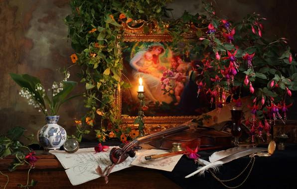 Картинка цветы, перо, скрипка, бокал, свеча, картина, напиток, ландыши, вьюн, still life, вазочка, фуксия, Andrey Morozov, …