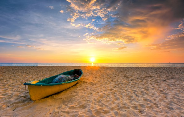 Картинка песок, море, пляж, лето, небо, закат, summer, beach, sky, sea, sunset, seascape, romantic, sand