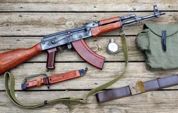 Картинка автомат, ремень, AK-47, AKM, штык нож