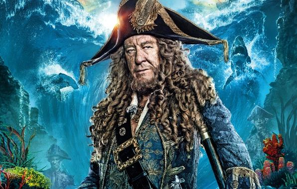 Картинка волны, фон, корабли, кораллы, фэнтези, акулы, Пираты Карибского моря, постер, Geoffrey Rush, Джеффри Раш, треуголка, …