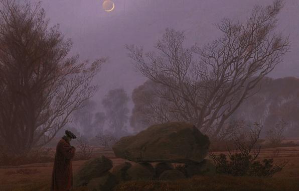 Фото обои пейзаж, камень, Луна, Каспар Давид Фридрих, Прогулка в Сумерках, картина