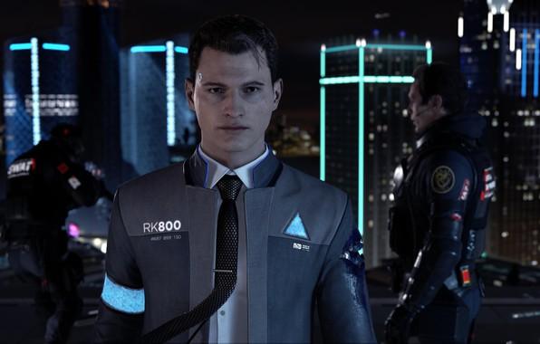 Картинка gun, game, soldier, weapon, suit, uniform, tie, seifuku, Detroit: Become Human